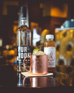 Lao Kombucha Cocktail, pur vodka, moscow mule, quebec, canada