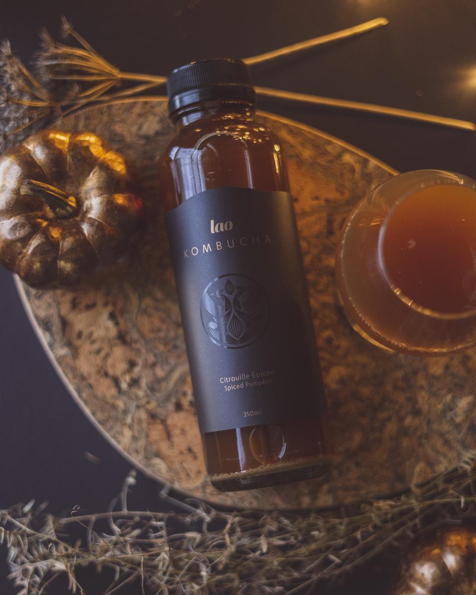 Lao Kombucha, Citrouille épicée, ephemere, premium, thé, grande qualité, fermentation, meilleur québec, montréal, camellia sinensis, champ de thé